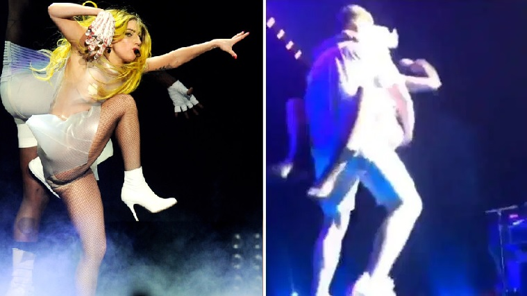 Lady Gaga Falls Off Stage After Fan Drops Her in Las Vegas