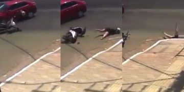 Motorcyclist Gets Hit by a Car and Slides Smooth Down The Drain