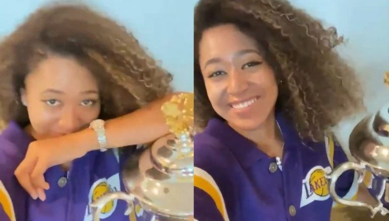 Naomi Osaka Shows Off Her 4th Grand Slam Trophy