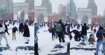 New Yorkers Start Huge Snowball Fight In Washington Square Park After Winter Storm