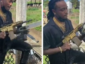 Quavo Shows Off His Gold Chainsaw Rifle