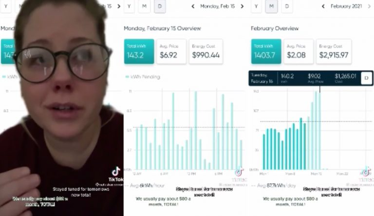 Woman In Texas Shows Her Electric Bill