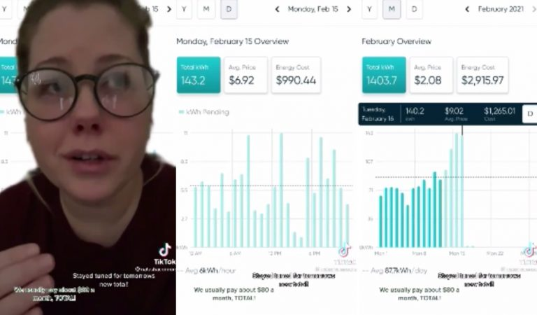 """Woman In Texas Shows Her Electric Bill """"$990 For One Day"""""""