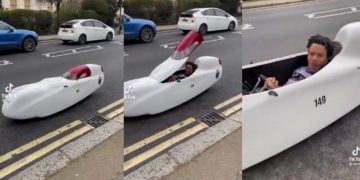 Guy Pulls Up In A 'Human Powered' Vehicle
