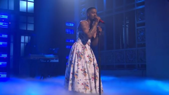 Kid Cudi Wears A Floral Dress On SNL