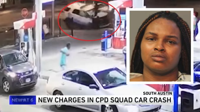 Surveillance Video Shows Moment Woman Hit Chicago PD and Crashes Into Gas Station