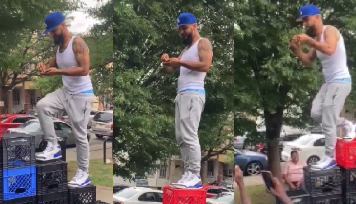 'White Mike' Crushes The 'Milk Crate Challenge' While Rolling Up Some Kush