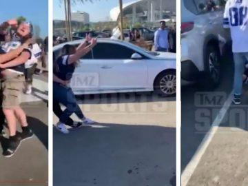 Cowboys & Chargers Fan Get Into Insane Parking Lot Brawl At SoFi Stadium