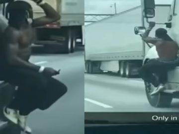 Shirtless Man Spotted Hangin' Onto Different Semi-Trucks in Atlanta