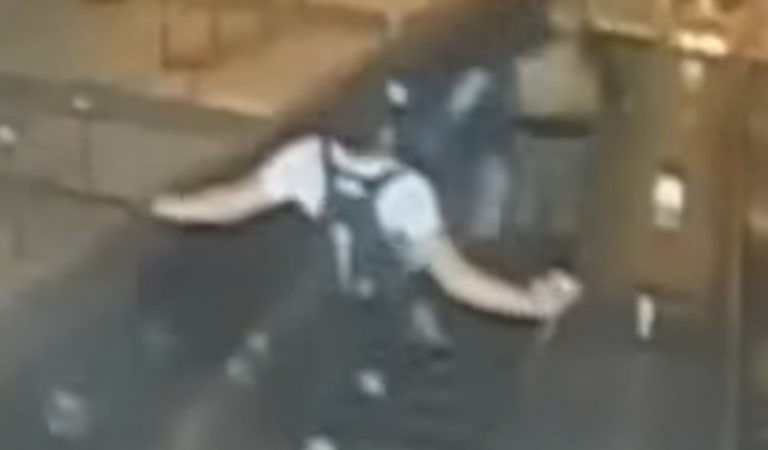 Disturbing: Surveillance Camera Captures Male 'Sparta Kick' 32-Year-Old Woman In The Chest & Knocking Her Down Escalator in NYC Subway