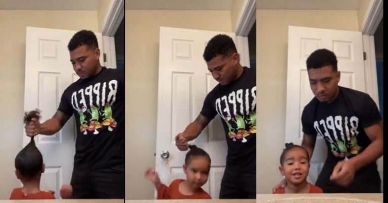 Father Finds a Way to Spin His Daughter Into a Hairstyle