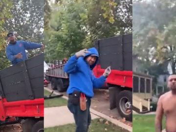 Guy Complains About Leaves Being Blown at His Neighbor's Home But...Lawn Care Only Cares To 'Throw Hands'