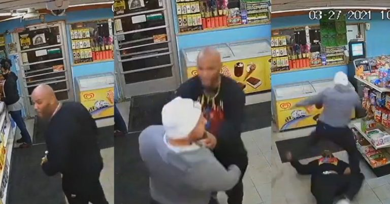 Convenience Store Clerk Shows a Man That The Glass Is There..For The Customers Protection