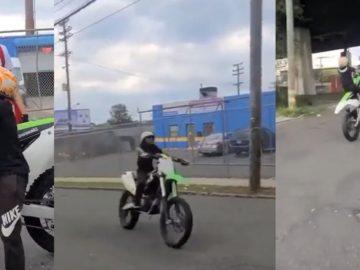 Kid Takes Off On Kawasaki Dirt Bike Like a Pro
