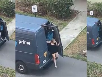 No Shoes Included: Amazon Driver Caught On Video Sneaking 'A Lil Somethin' Out The Back of Van
