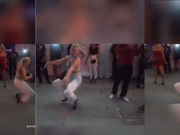 Lady Interrupts O.T. Genasis Crip Walking Dance For Some Clydesdale Hopping In Heels